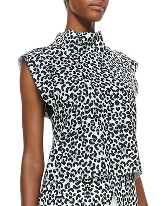 Uprising Leopard-Print Stand-Collar Top