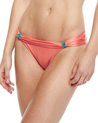 Solid Peach Bia Tube-Hardware Swim Bottom