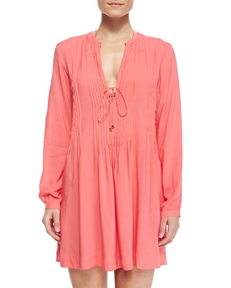 Catarina Jersey Pleated Tunic Coverup