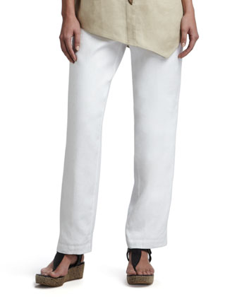 Straight-Leg Linen Pants, White