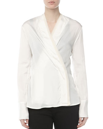 Satin Surplice Blouse, Vellum