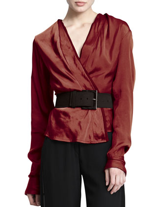 Long-Sleeve Satin Surplice Blouse