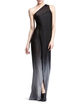 Ombre One-Shoulder Gown, Flint