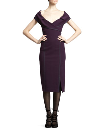 Off-The-Shoulder Crepe Dress, Purple