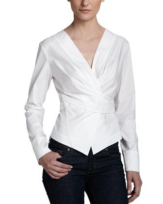 Wrap & Tie Shirt Jacket, White