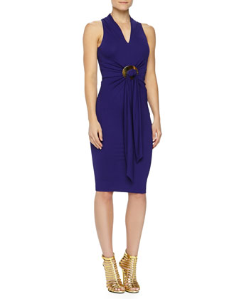 Belted Matte Jersey Dress, Lapis
