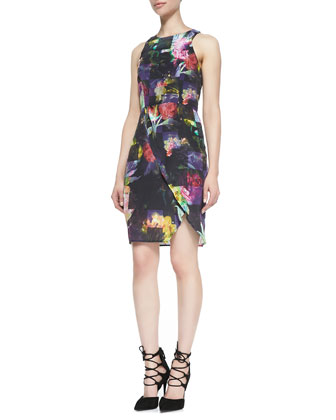 Flowers Bloom Silk Sleeveless Dress