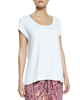 Cap-Sleeve Relaxed Tee & Printed Tie-Front Skirt