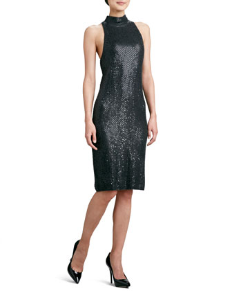 Sequined Knit Sleeveless Dress