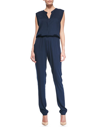 Sleeveless Blouson-Top Jersey Jumpsuit