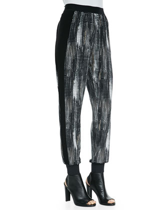 Mayer Mesh-Print Pants with Ribbed Cuffs