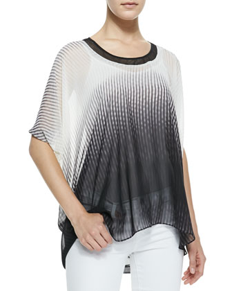 Roslin Cape-Sleeve Optic Wave-Print Blouse