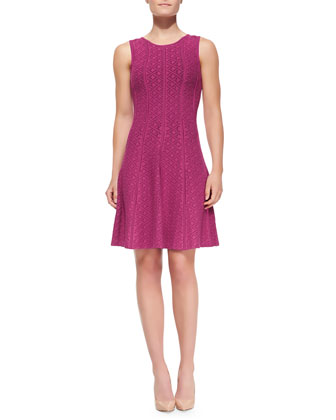 Sleeveless Textured & Seamed Fit-and-Flare Dress