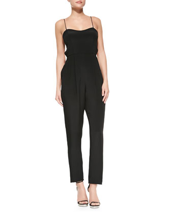 Spaghetti-Strap Stretch-Silk Jumpsuit