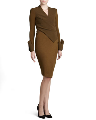 Crepe Bodice Open-Back Jersey Dress, Brass