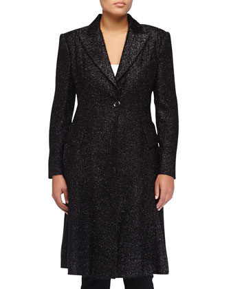 Slim Textured Flirty Coat, Black