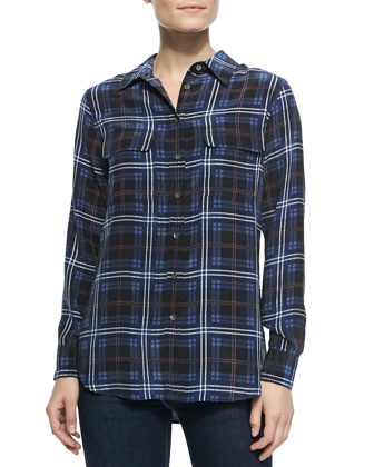 Slim Signature Button-Down Plaid-Print Blouse
