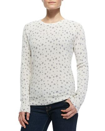 Sloane Crewneck Cashmere Star-Print Sweater