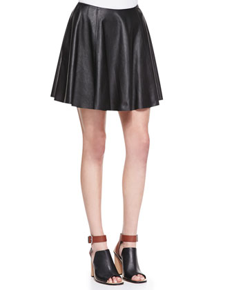Jaidyn P Knit-Trim Burnout Sweater & Merlock Pleated Leather Short Skirt