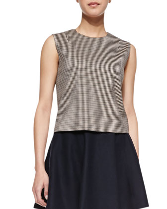 Focha Plaid Sleeveless Shell & Merlock Pleated Short Skirt