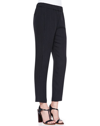 Brennia Pinstripe Sleeveless Shell & Korene Pinstripe Pull-On Cropped Pants