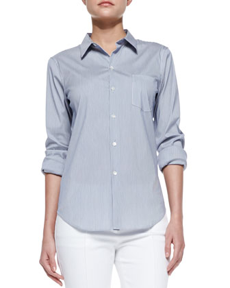 Perfect Poplin Button-Down Shirt, Blue-White