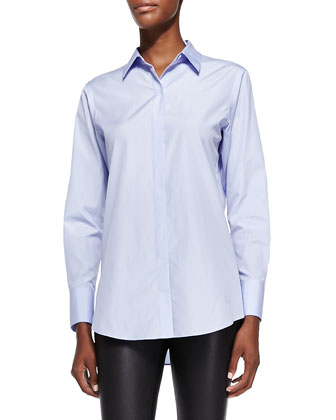 Nareen Poplin Button-Front Shirt, Blue