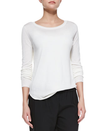 Landran Boat-Neck Lightweight Knit Sweater