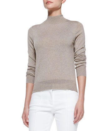 Sallie Banded-Trim Lightweight Mock-Neck Sweater