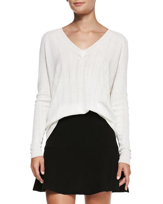 Kommie Perforated Knit Loose Sweater & Gida Fit & Flare Knit Skirt ...