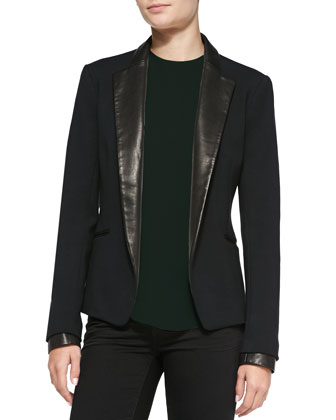 Leandria Jacket w/ Leather Lapels & Cuffs