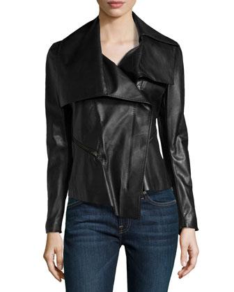Asymmetric Leather Motorcycle Jacket, Black