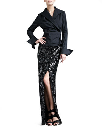 Swirl-Sequin Long Scissor Skirt