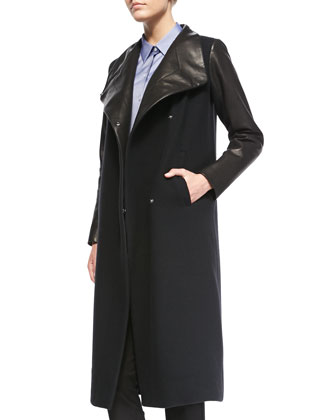 Tin Leather-Sleeve Button Coat