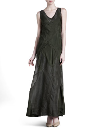 Patchwork V-Neck Silk Maxi Dress, Eucalyptus