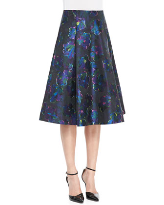 bekki ruffled 3/4-sleeve sweater & floral clip dot a-line skirt