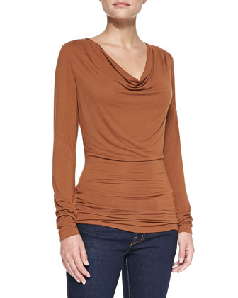 Long-Sleeve Cowl Tee, Copper