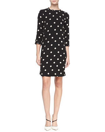 3/4-sleeve dizzy dot dress