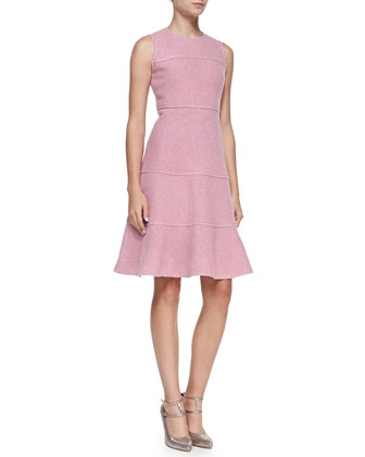 sleeveless fluted boucle dress