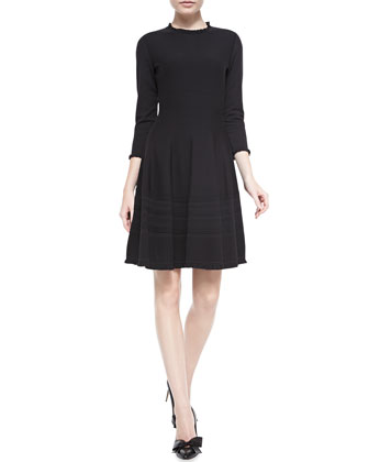 3/4-sleeve pointelle sweater dress