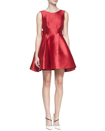 sleeveless mini cocktail dress with large back bow