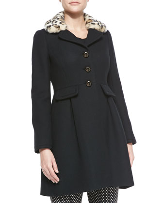 faux-fur-collar long-sleeve dress coat