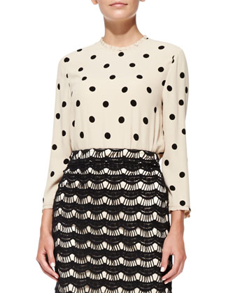 long-sleeve deco dot top