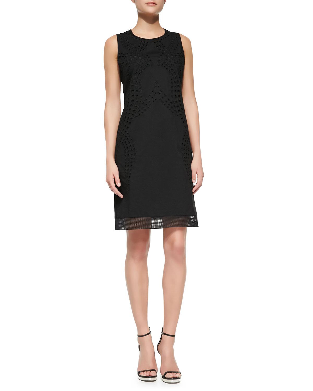 Womens Fran Sleeveless Eyelet Lace Dress   T Tahari   Black (14)