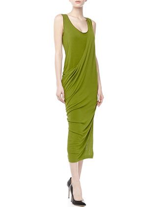 Sleeveless Draped Jersey Dress, Moss