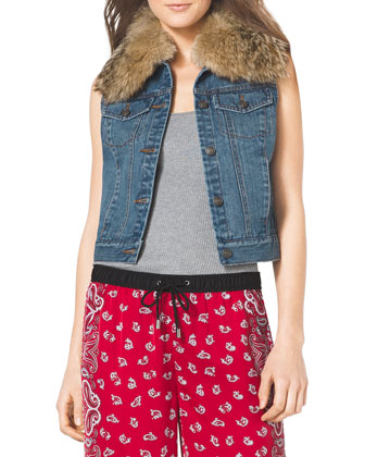 Fur-Trim Denim Vest