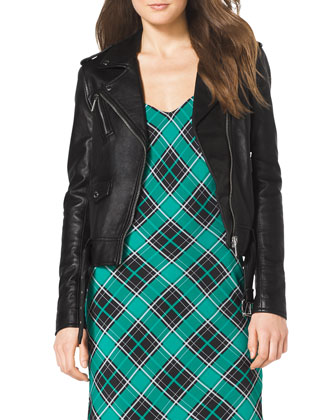 Leather Moto Jacket & Sleeveless Plaid Slip Dress