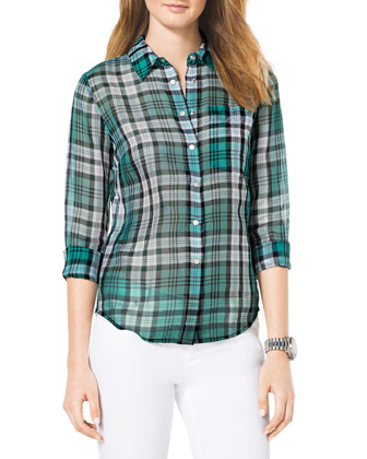 Ascot Sheer Plaid Blouse