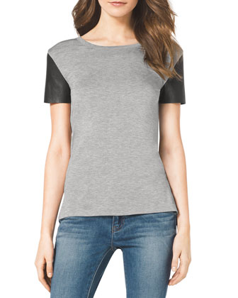Leather-Sleeve Slub Tee