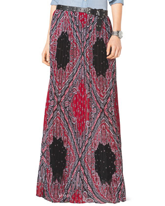 Pleated Bandana-Print Maxi Skirt